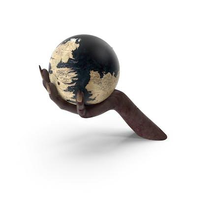Creature Hand Holding a Fantasy World Globe