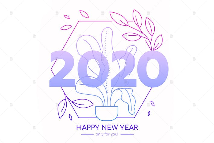 Thumbnail for Happy New Year 2020 celebration lineart banner