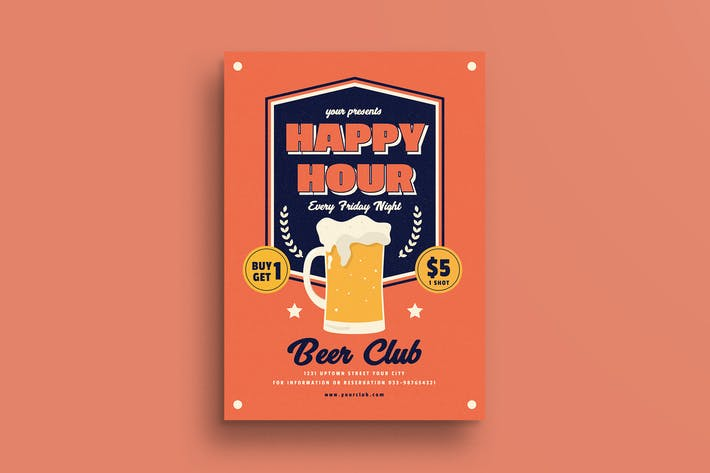 Thumbnail for Retro Happy Hour Beer Flyer