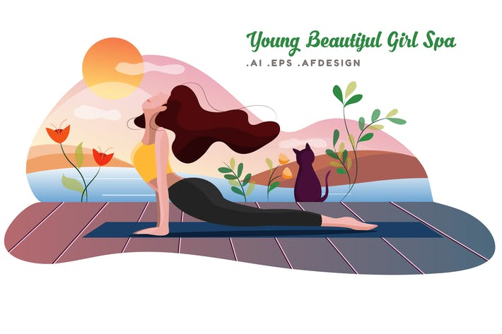Thumbnail for Young Beautiful Girl Spa Vector Illustration