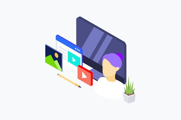 Thumbnail for Video Blogger Isometric Illustration