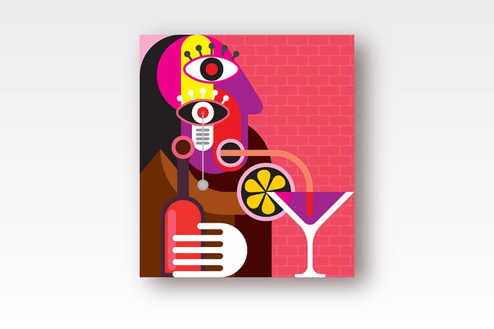 Cover Image For Lonely woman drinks a cocktail through a straw