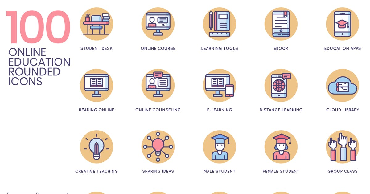 Online Education Rounded Flat Icons by Krafted