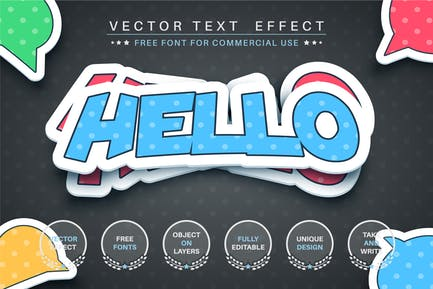 Hello sticker - editable text effect, font style
