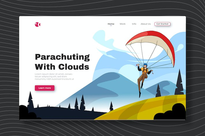 Parachuting With Clouds - Landing Page