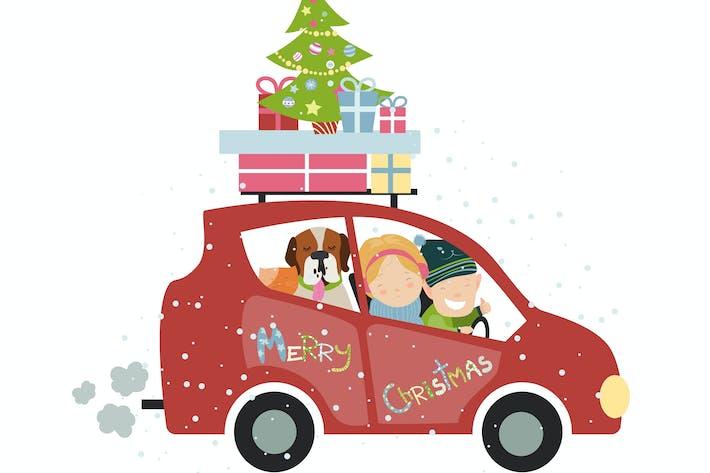 Voyage de Noël en famille en voiture. Vecteur