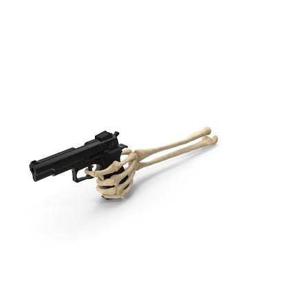 Mano esqueleto sosteniendo un arma