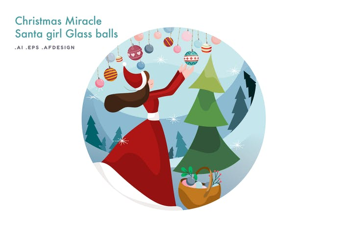 Thumbnail for Santa Girl with Gift Vector Illustration
