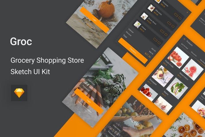 Thumbnail for Groc - Grocery Shopping Store Sketch UI Kit