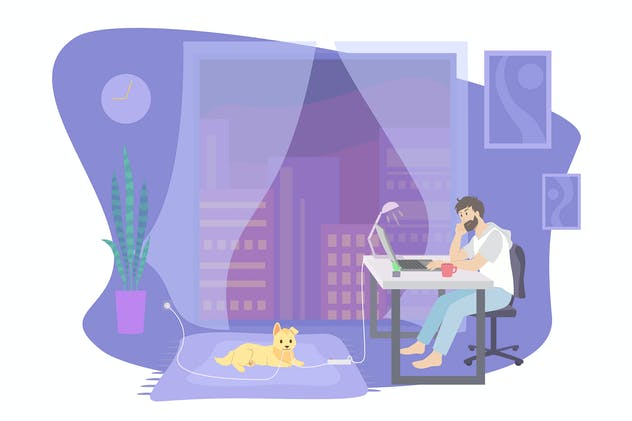 Remote work at home, freelancer with a laptop