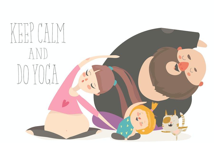 Family yoga. Cartoon characters doing asanas on wh