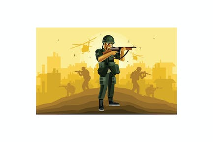 Soldier Character Graphics Vector Illustration