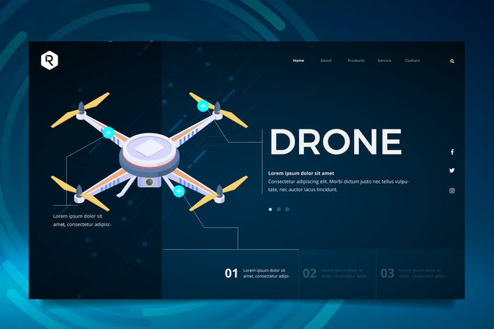 Thumbnail for Drone Tech Web Header PSD & Vector Template