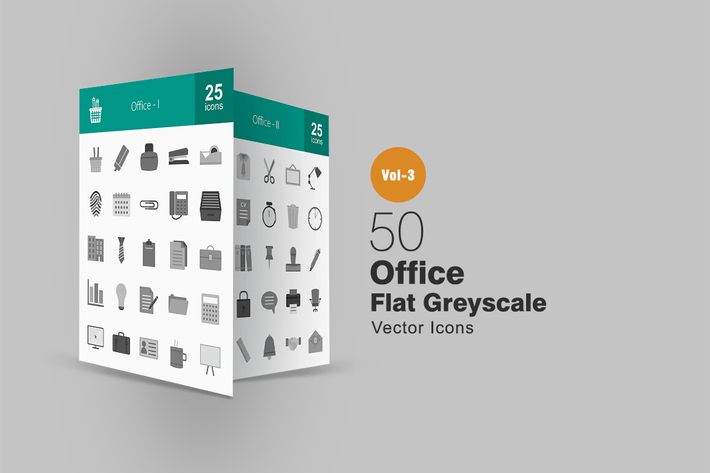 Thumbnail for 50 Office Greyscale Icons
