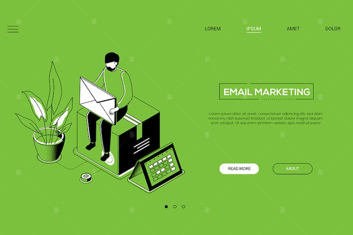 Thumbnail for Email marketing - line design isometric web banner
