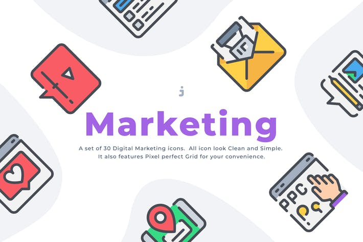 Thumbnail for 30 Digital Marketing icon set