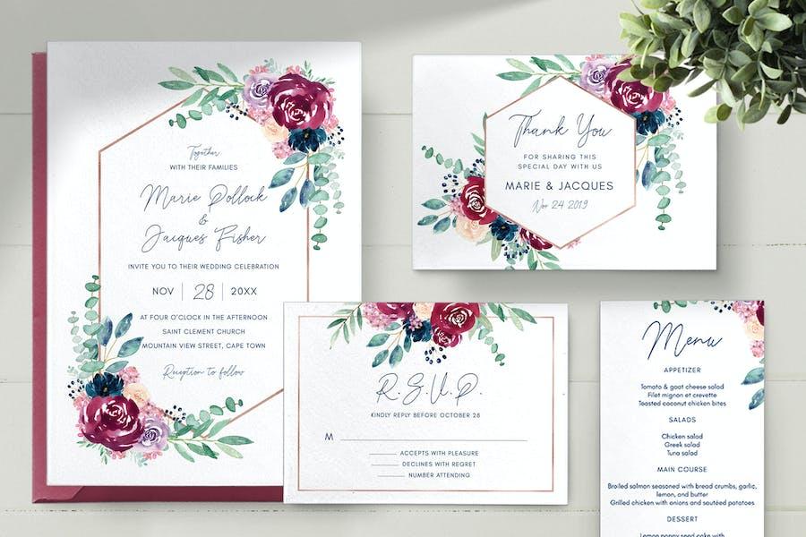 Kit de invitaciones de boda - Borgoña y Marina