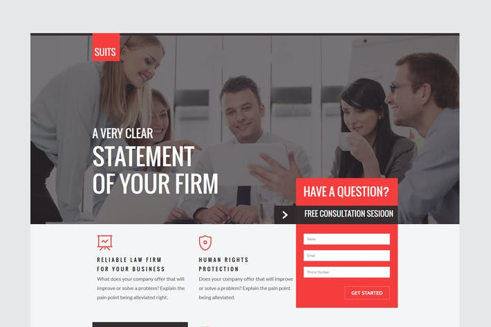 Cover Image For SUITS - Unbounce Law Template