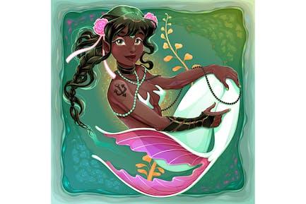 Sirena sonriente con cola de pez blanco