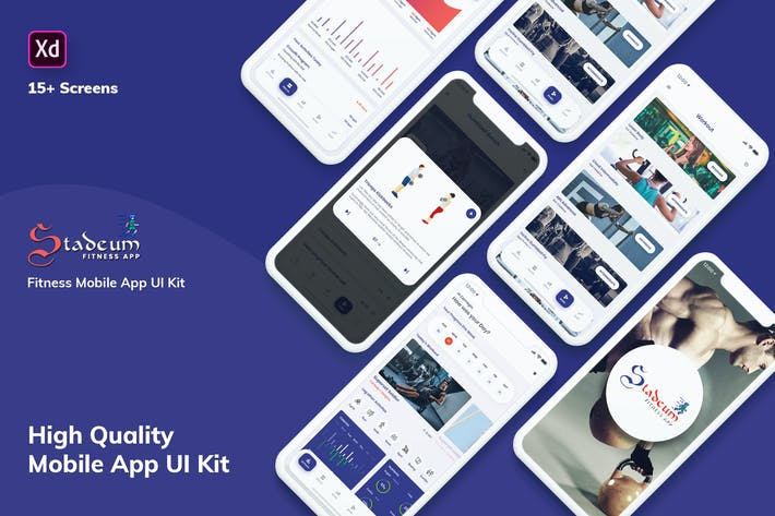 Thumbnail for Stadeum-Fitness Mobile App UI Kit (XD)