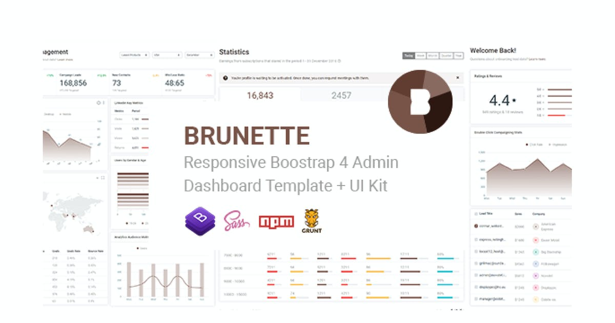 Download Brunette - Bootstrap 4 Admin & Powerful UI Kit by Hencework