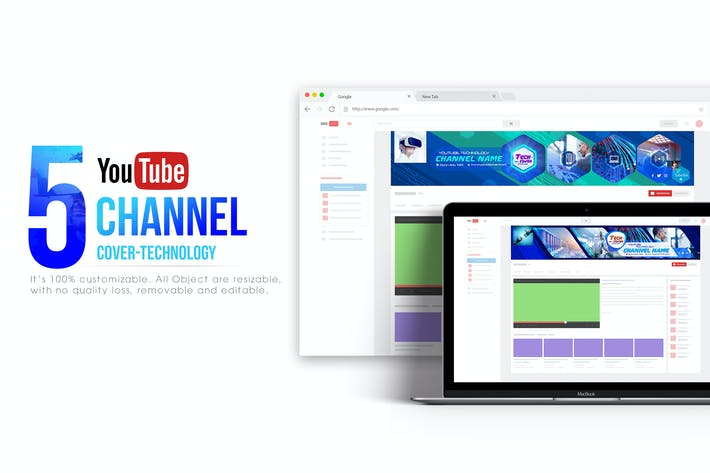 Thumbnail for 5 Tech Channel-Youtube Banners Template