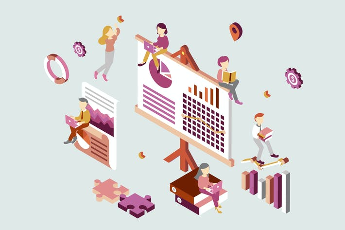Thumbnail for Business Plan Isometric Illustration
