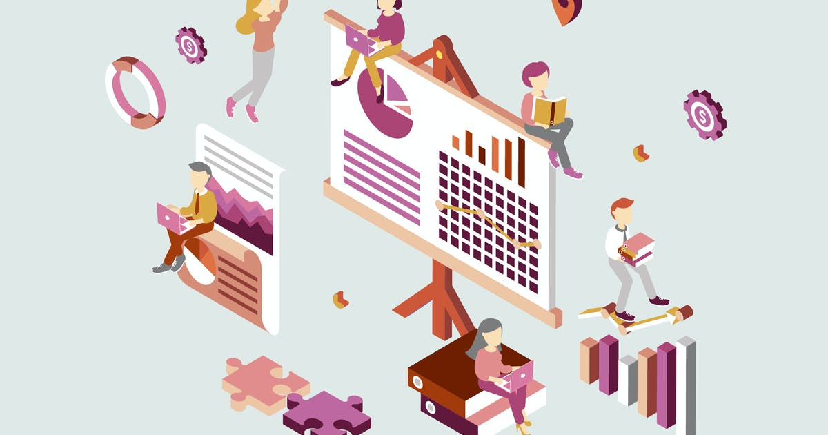 Download Business Plan Isometric Illustration by angelbi88