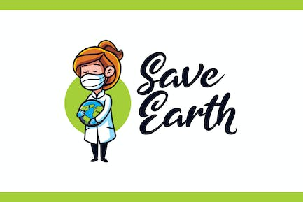 Save Earth - Medical and Healthcare Mascot Logo