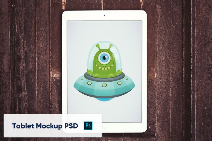 Thumbnail for Tablet on Wooden Background - Mockup PSD