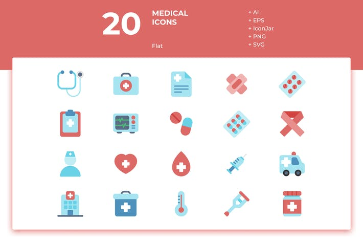 Thumbnail for 20 Medical Icons (Flat)