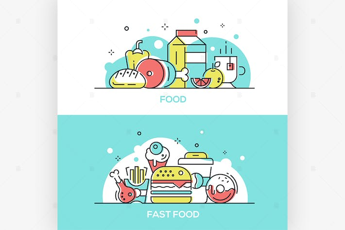 Thumbnail for Food concept - line design style illustrations