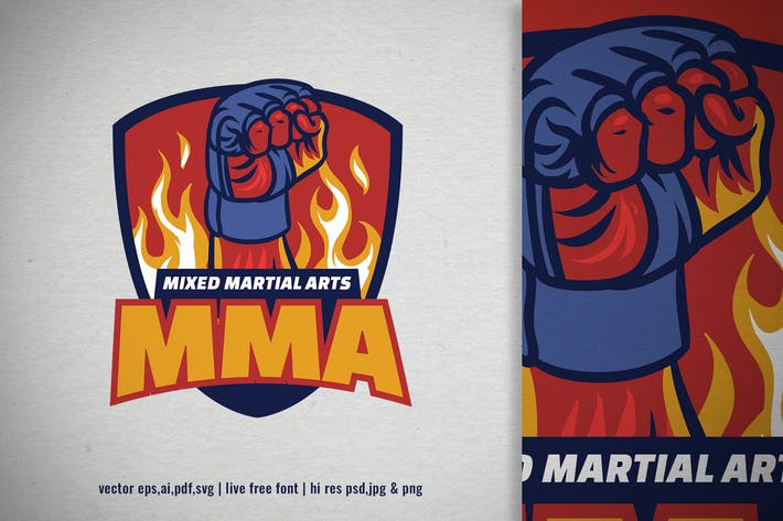 fighter MMA punch for gym logo