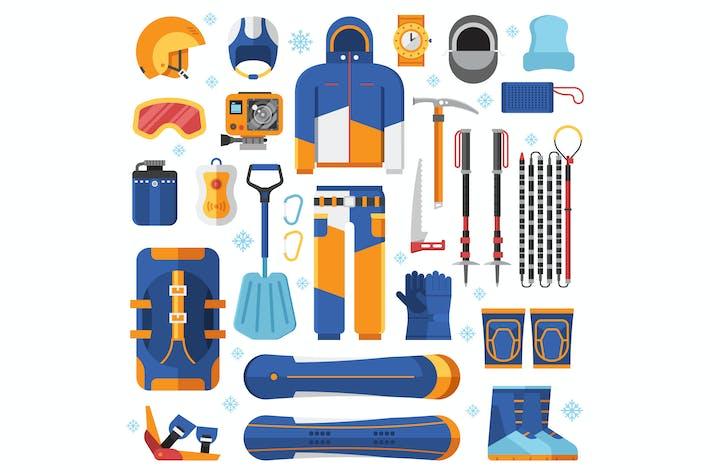 Snowboard-Ausrüstung Set