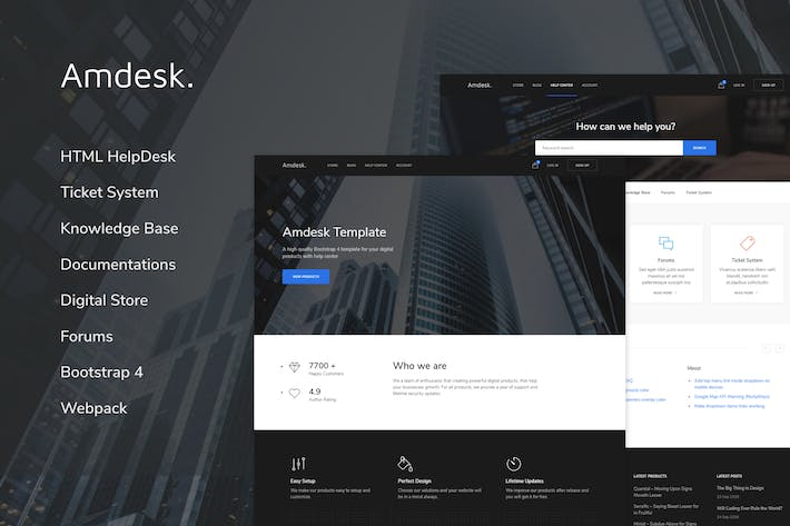 Thumbnail for Amdesk - HelpDesk and Knowledge Base HTML template