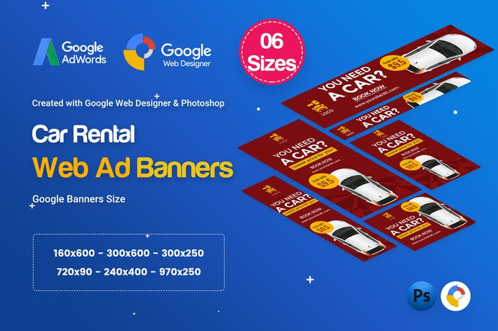 Thumbnail for Car Rental HTML5 Banners Ad D25 - GWD & PSD