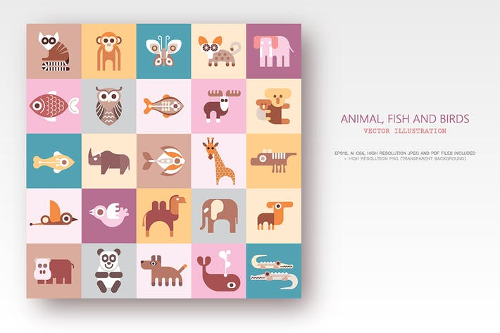 Cover Image For Animals, Fish and Birds set of flat vector icons