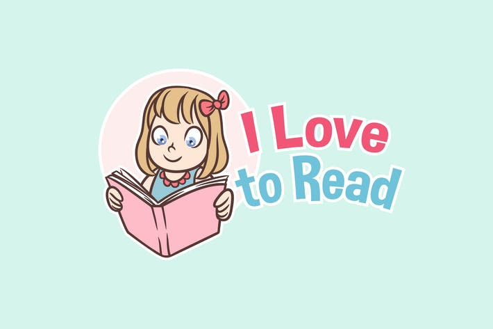 I Love to Read - Reading Girl Mascot Logo