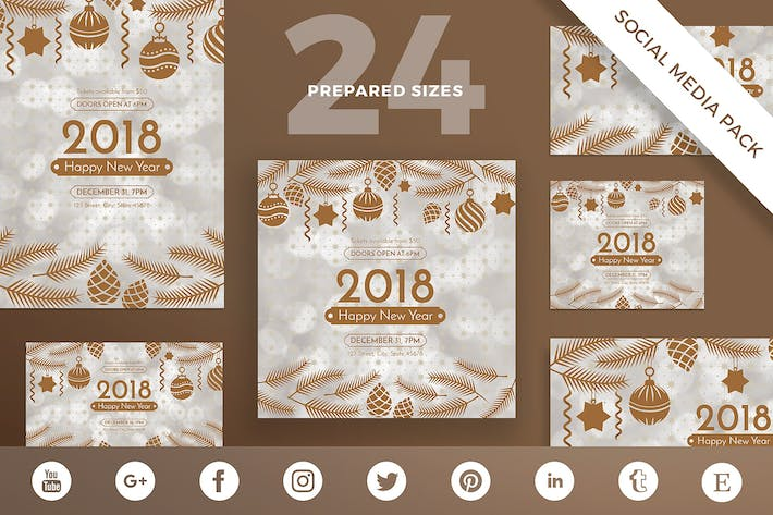 Cover Image For NewYear Party Social Media Pack Template
