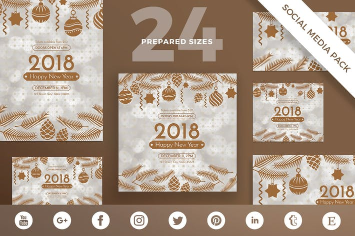 Thumbnail for NewYear Party Social Media Pack Template