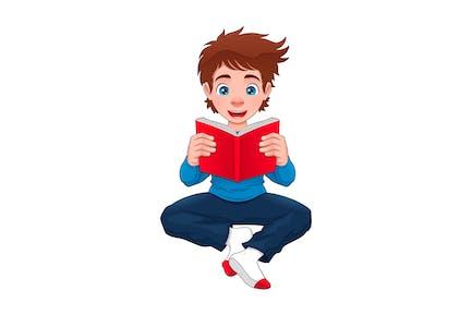 El chico está leyendo un libro