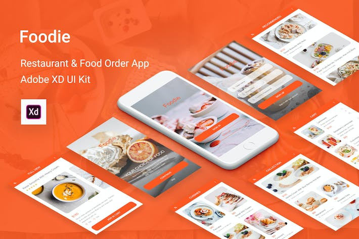 Thumbnail for Foodie - Food Delivery Mobile App for Adobe XD