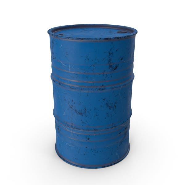 Metal Barrel Painted Worn Blue
