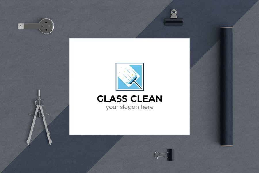 Glass Clean Business Logo Template