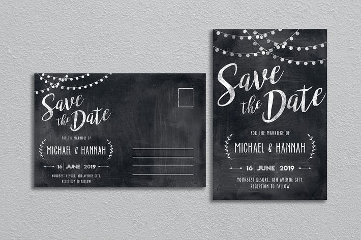 Chalk Save the Date Invitation