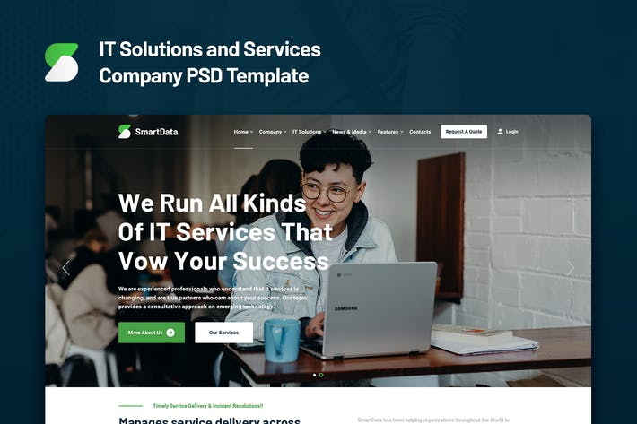 Thumbnail for Smartdata - IT Solutions and Services PSD Template