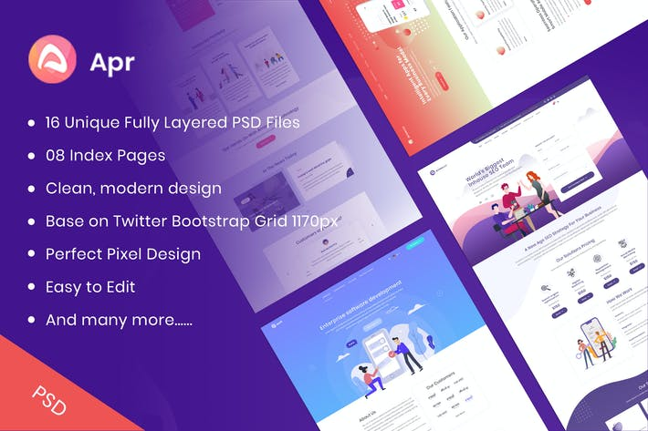 Thumbnail for APR - Tech, Digital, Product Landing PSD Template