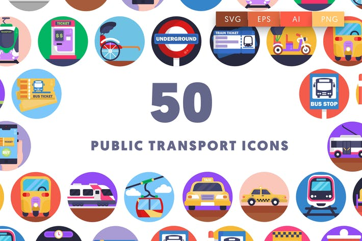 Thumbnail for 50 Public Transport Icons