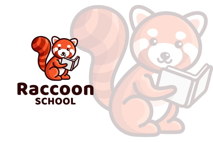 Cover Image For Raccoon School Cute Logo Template