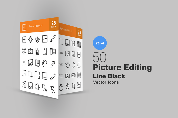 Thumbnail for 50 Picture Editing Line Icons